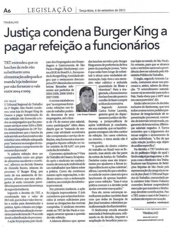 Justiça condena Burger King a pagar refeição a funcionários