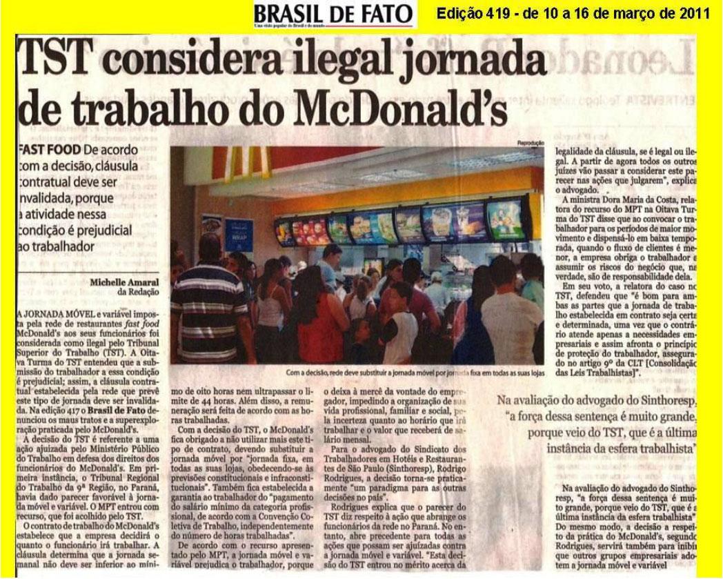 Brasil de Fato - TST considera ilegal a jornada de trabalho no Mcdonald's