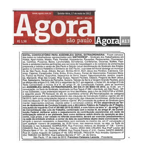 Edital publicado no Jornal Agora