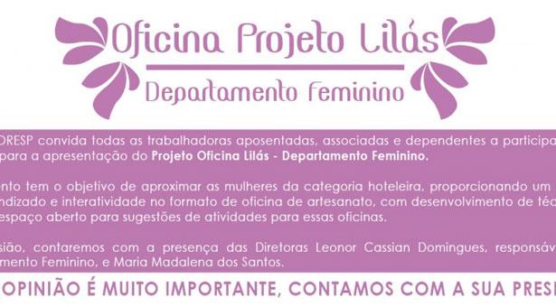 Convite - Projeto Oficina Lilás - 22 de fevereiro de 2013