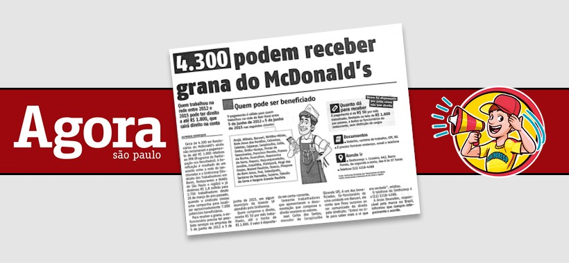 Jornal Agora repercute balanço do nosso acordo de PPR com o McDonald's