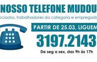ATENÇÃO! Nosso telefone mudou!