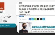 Na mídia: Sinthoresp chama ato por retomada segura em bares e restaurantes de São Paulo