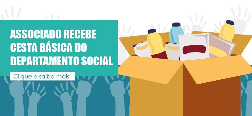Associado recebe cesta básica do Departamento Social