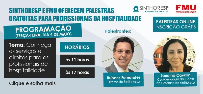 Sinthoresp e FMU oferecem palestras on-line gratuitas para profissionais da hospitalidade